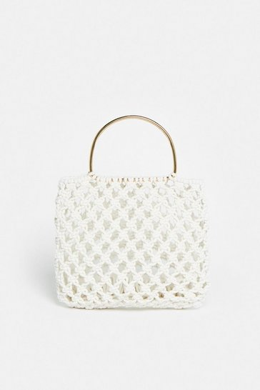 Beige Crochet Bag With Metal Handle
