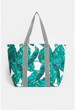 Green Palm Print Canvas Bag