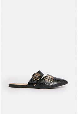 Black Double Buckle Pointed Backless Mule