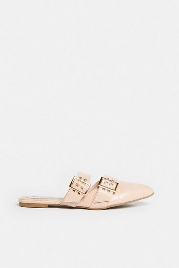 Nude Double Buckle Pointed Backless Mule