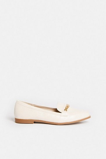 Cream Double Chain Loafers