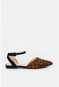 Wide Fit Leopard Backless Pointed Ballet Pumps