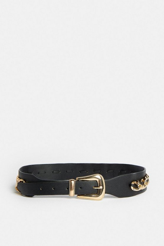 Black Gold Chain Detail Belt