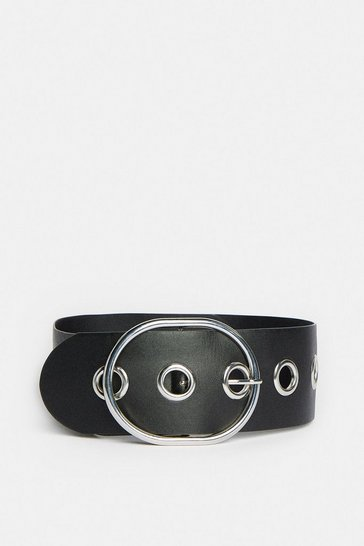 Black Wide Eyelet Waist Belt