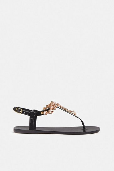 Black Jewel Detail Sandal
