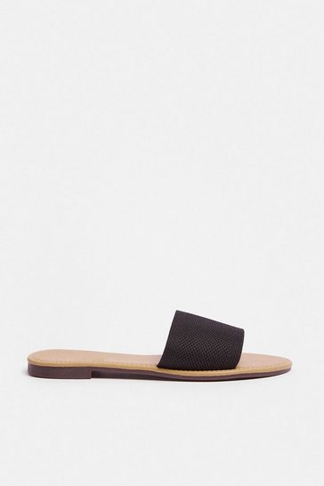 Black Single Strap Low Heel Sandal