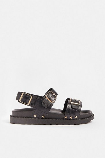 Black Double Strap Buckle Detail Sandal