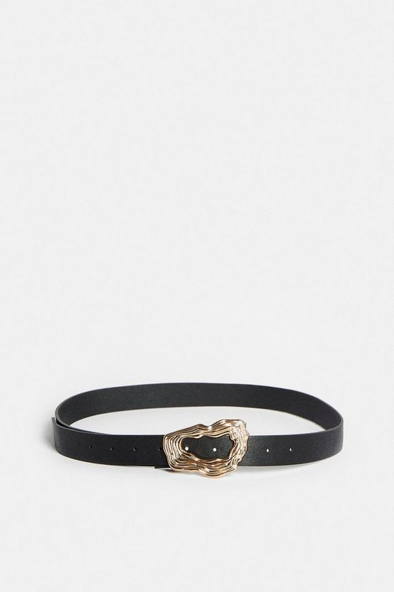 Black Textured Abstract Buckle Faux Leather Belt