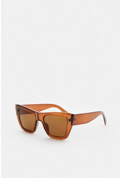 Brown Cat Eye Square Sunglasses