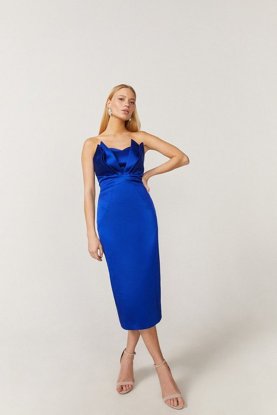 Blue Premium Seam Bandeau Midi Dress