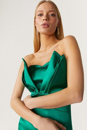 Green Premium Seam Bandeau Midi Dress