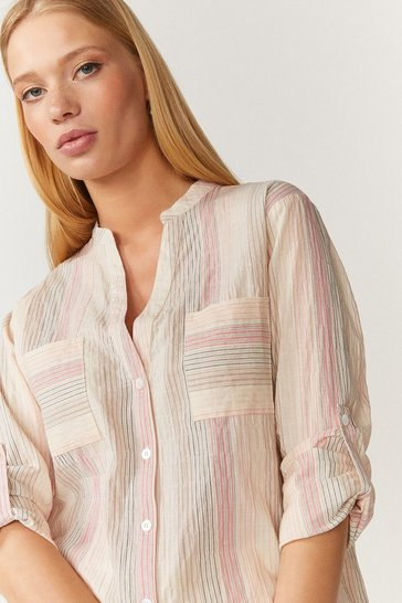 Pale pink Stripe Nero Collar Blouse