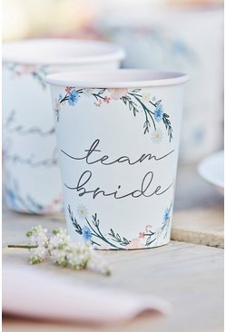 Multi Ginger Ray 8 Floral Team Bride Paper Cups