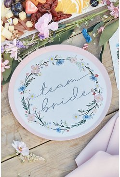 Multi Ginger Ray 8 Floral Team Bride Paper Plates