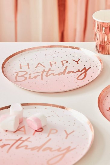 Rose gold Ginger Ray Happy Birthday Paper Plates X8