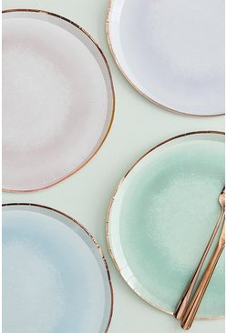 Multi Ginger Ray Foiled Pastel Glaze Effect Plates