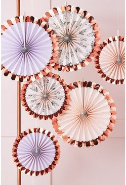 Multi Ginger Ray Mixed Pack Of 6 Fan Decorations