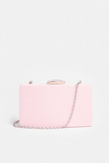 Pink Rectangle Clasp Fastening Clutch Bag