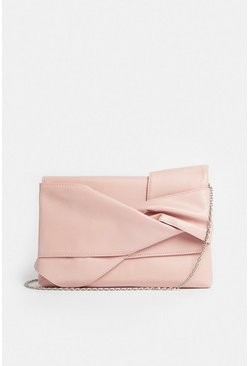 Blush Tie Detail Clutch Bag
