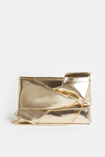 Gold Tie Detail Clutch Bag