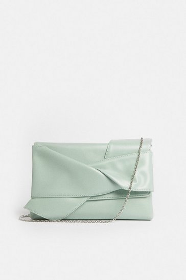 Mint Tie Detail Clutch Bag
