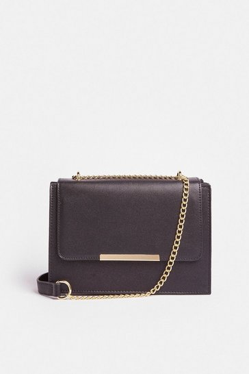 Black Rectangle Metal Trim Bag With Chain Strap