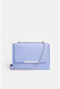 Blue Rectangle Metal Trim Bag With Chain Strap