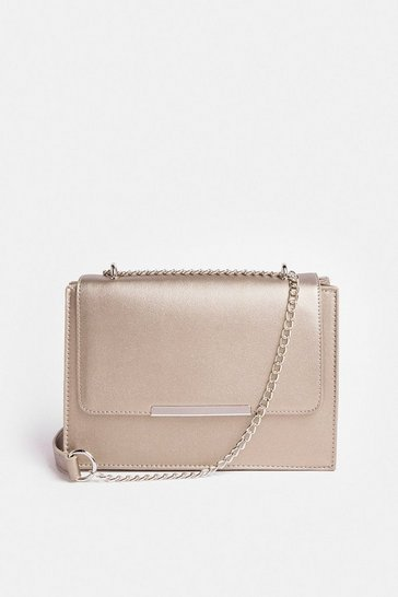 Pewter Rectangle Metal Trim Bag With Chain Strap