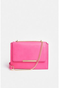 Pink Rectangle Metal Trim Bag With Chain Strap