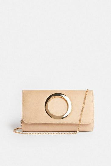 Sand Metal Ring Detail Clutch Bag