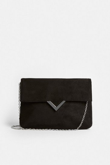 Black Clutch Bag With Metal Trim Detail