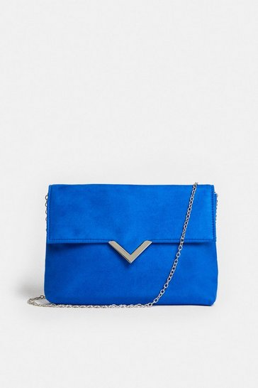 Blue Clutch Bag With Metal Trim Detail
