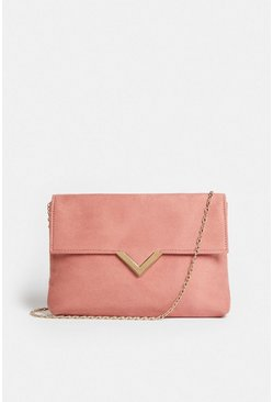 Pink Clutch Bag With Metal Trim Detail