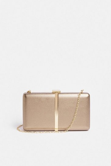 Bronze Metallic Clutch Bag With Chain Strap