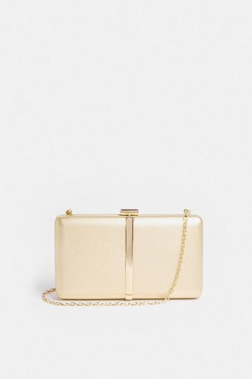 Gold Metallic Clutch Bag With Chain Strap