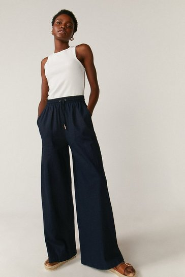Navy Linen Wide Leg Trouser