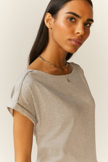 Grey marl Organic Cotton Slub T-Shirt