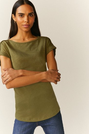 Khaki Cotton Slub T-Shirt