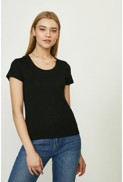 Black Organic Cotton Scoop Neck Short Sleeve Top