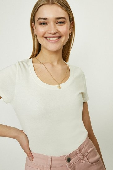 Ivory Organic Cotton Scoop Neck Short Sleeve Top