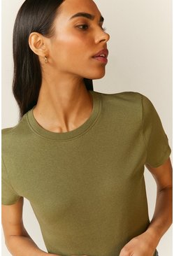 Khaki Crew Neck Short Sleeve Organic Cotton Top