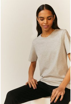 Grey marl Crew Neck Organic T-Shirt