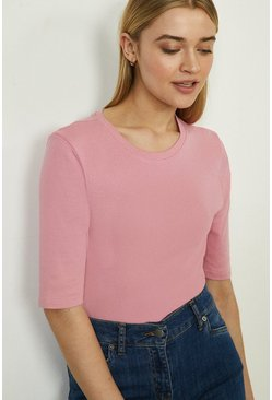Pink Crew Neck Half Sleeve Organic Cotton Top