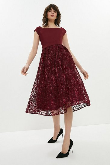 Aubergine Embroidered Midi Dress