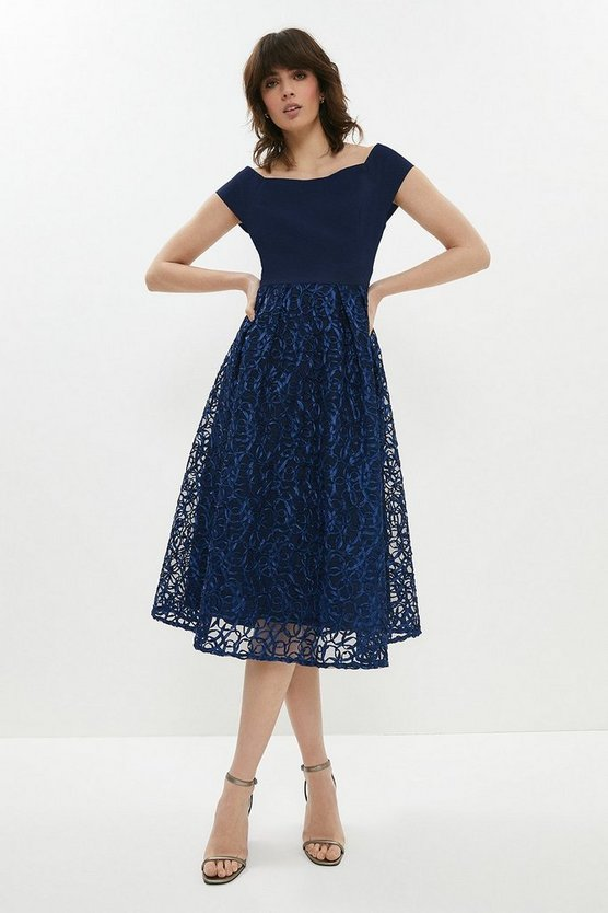 Navy Embroidered Midi Dress