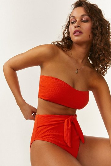 Orange Waffled High Waisted Bikini Bottoms