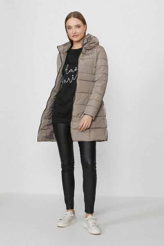 Beige Zip Up Oversized Collar Puffer Coat