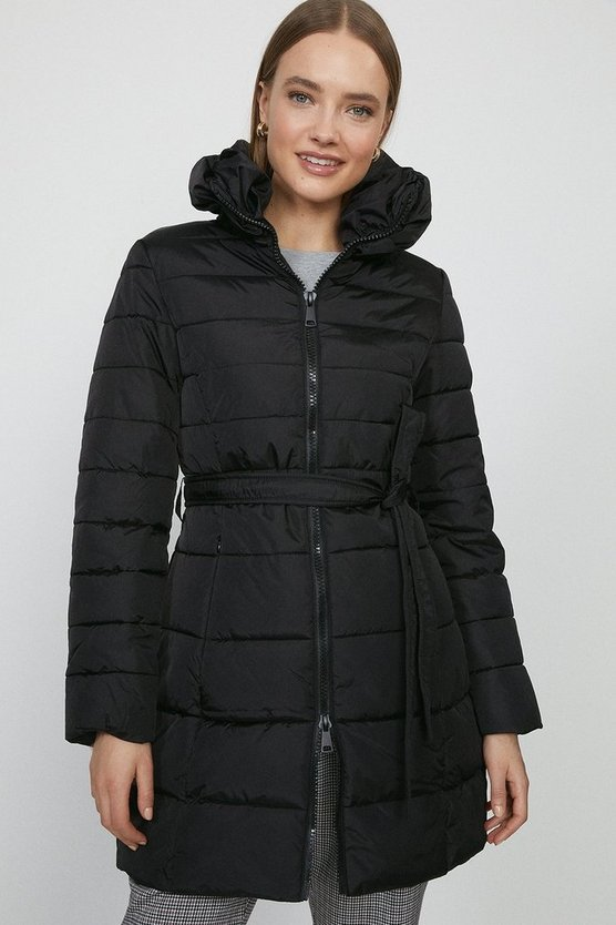 Black Zip Up Oversized Collar Puffer Coat