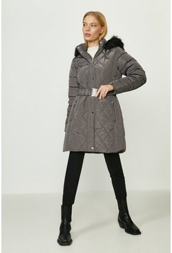 Charcoal Long Luxe Padded Coat
