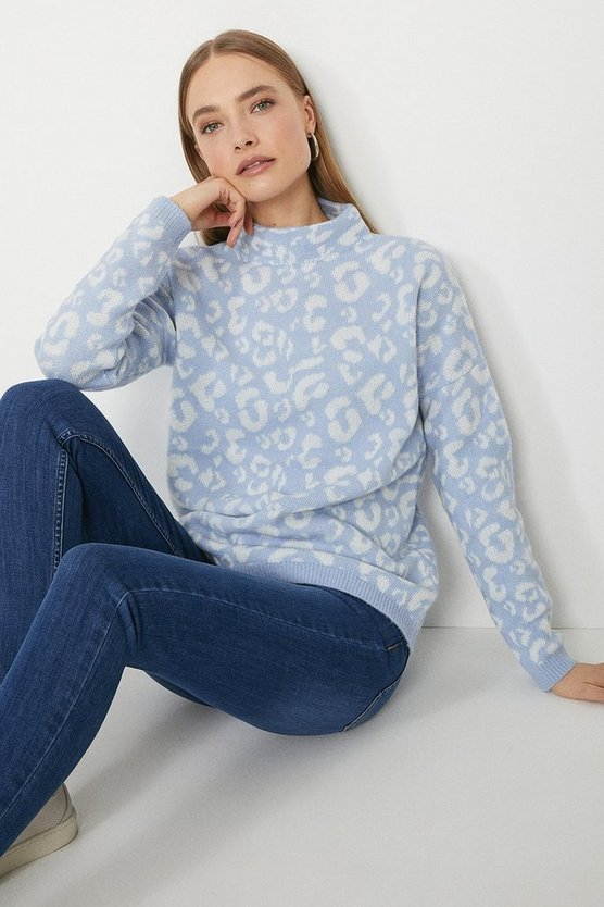 Blue Roll Neck Knitted Animal Jumper